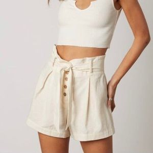 Cotton Candy LA Paper Bag Button Front Shorts